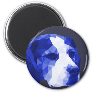 Beagle Low Poly Art in Blue 6 Cm Round Magnet