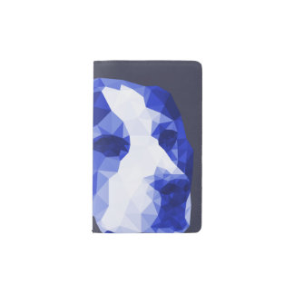 Beagle Low Poly Art in Blue Pocket Moleskine Notebook
