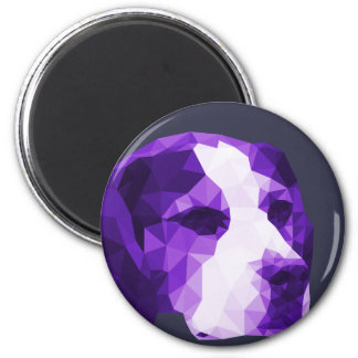 Beagle Low Poly Art in Purple 6 Cm Round Magnet