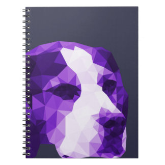 Beagle Low Poly Art in Purple Spiral Note Book