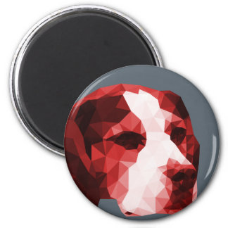 Beagle Low Poly Art in Red 6 Cm Round Magnet