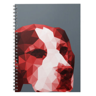 Beagle Low Poly Art in Red Spiral Note Book