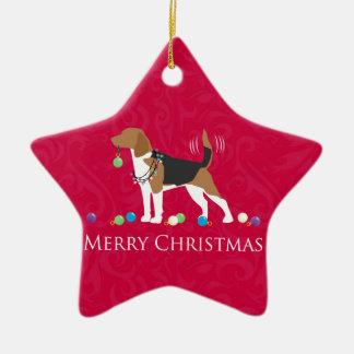 Beagle Merry Christmas Design Christmas Ornament