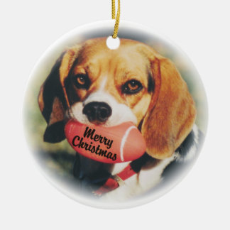 Beagle Merry Christmas Football Toy Ornament