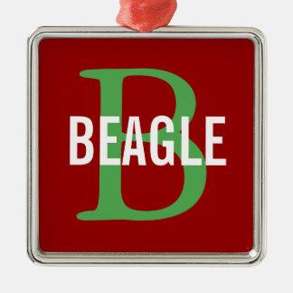Beagle Monogram Silver-Colored Square Decoration