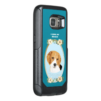Beagle on Teal Floral OtterBox Samsung Galaxy S7 Case
