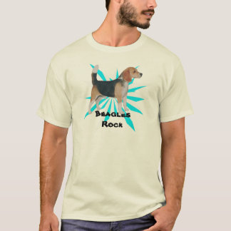 Beagle on Turquoise Pinwheel T-Shirt