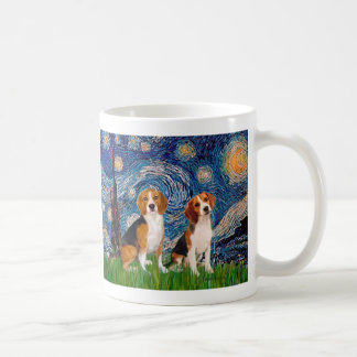 Beagle Pair - Starry Night Basic White Mug