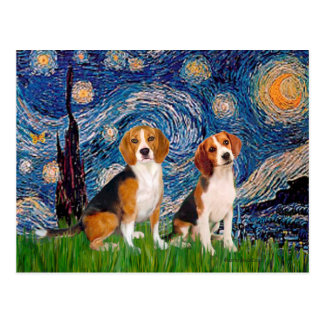 Beagle Pair - Starry Night Post Card