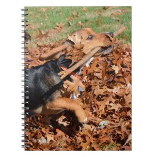 Beagle Playing With Stick In The Leaves Notebooks