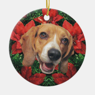 Beagle Poinsettias Christmas Round Ceramic Decoration