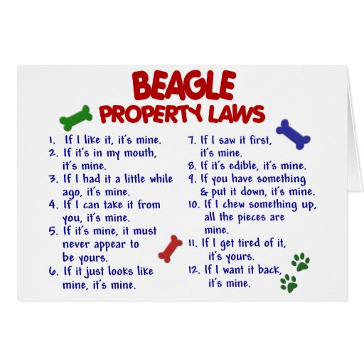 BEAGLE Property Laws 2 Greeting Card