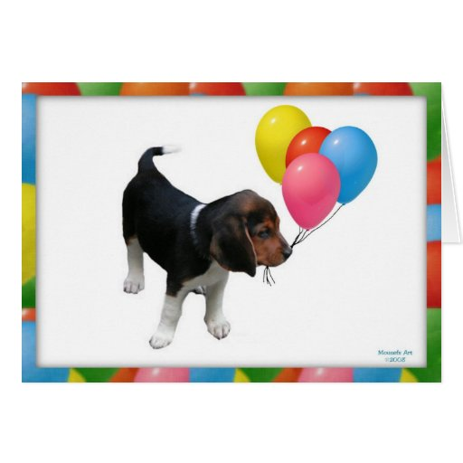 Beagle Puppy and Balloons Birthday Card