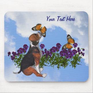 Beagle Puppy Butterflies Flowers Animal Mousepad