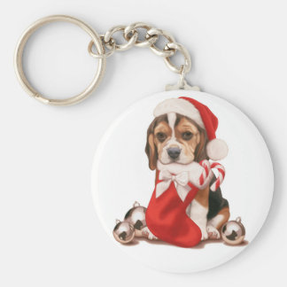 Beagle Puppy Christmas Key Ring