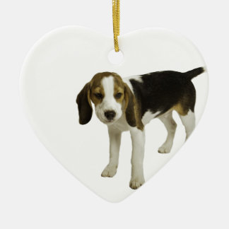 Beagle Puppy Dog Ceramic Heart Decoration