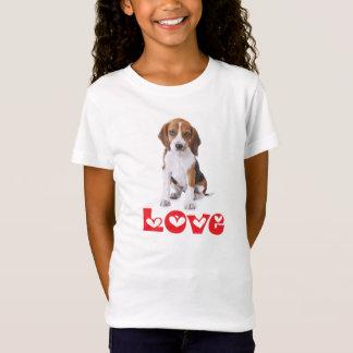 Beagle Puppy Dog Love & Hearts Girls Tee Shirt
