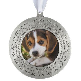 Beagle Puppy Dog Round Pewter Decoration