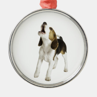 Beagle Puppy Dog Silver-Colored Round Decoration