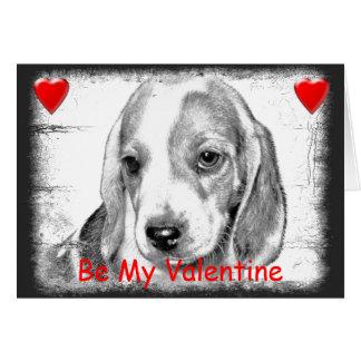 Beagle Puppy dog Valentines Day Card