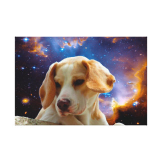 beagle puppy on the wall looking at the universe canvas print