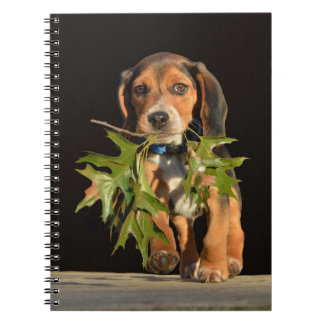 Beagle Puppy Playing With Leaves Spiral Notebook