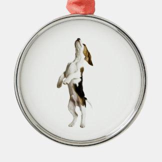 Beagle Puppy Silver-Colored Round Decoration
