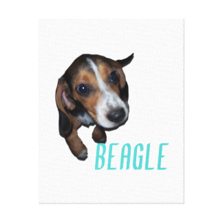 Beagle Puppy Sitting - Customize Background Color Canvas Print