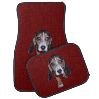 Beagle Puppy Walking - Red Background Color Car Mat