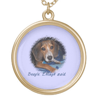 Beagle Puppy with Attitude - Blue Background Color Necklace