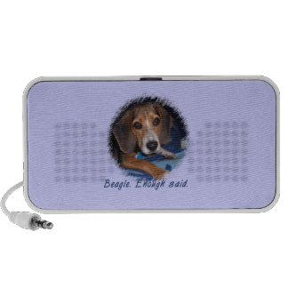 Beagle Puppy with Attitude - Blue Background Color Travel Speaker