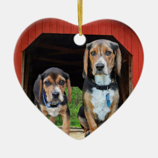 Beagle Pups At The Red Covered Bridge Valentines Christmas Ornament