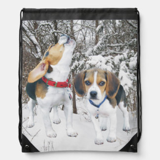 Beagle Pups in Snowy Woods Backpack