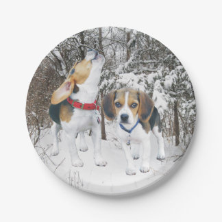 Beagle Pups in Woodland Snow Paper Plates