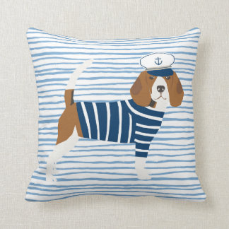 Beagle sailor dog cute nautical themed sailor dog cushion