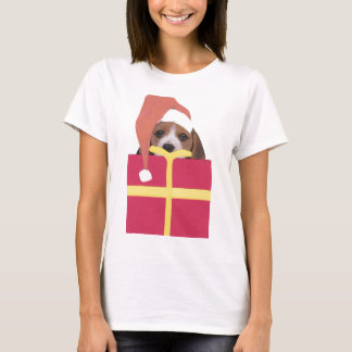 Beagle Santa Hat Gift Box T-Shirt