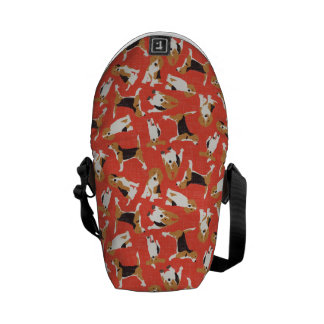 beagle scatter coral red courier bag