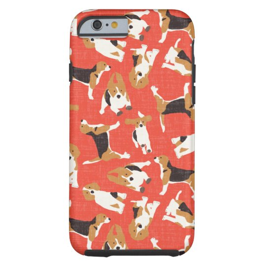 beagle scatter coral red tough iPhone 6 case