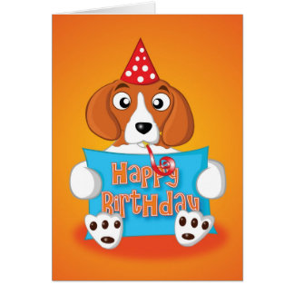 beagle - sign - happy birthday greeting card