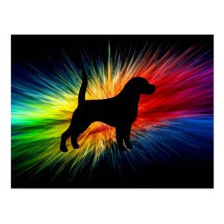 beagle silhouette on rainbow burst.png postcard