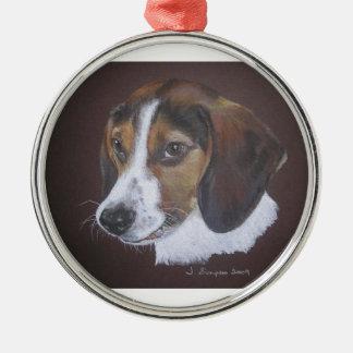 Beagle Silver-Colored Round Decoration