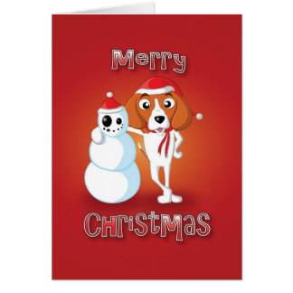 beagle - snowman - merry christmas greeting card
