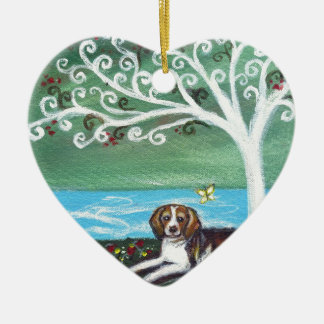 Beagle spiritual tree love butterfly ceramic heart decoration