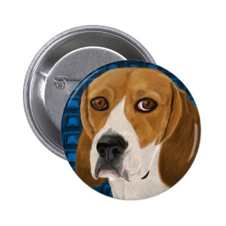 Beagle Staring Directly at You - Digital Paint 6 Cm Round Badge