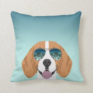 Beagle sunglasses summer dog pillow