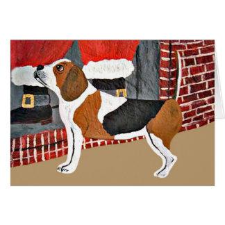 Beagle Watch Dog On Christmas Eve Card