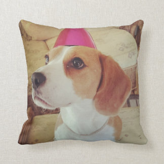 Beagle wearing a party hat throw cushion