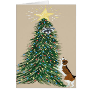 Beagle With Treed Racoon Cards
