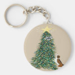 Beagle With Treed Racoon Basic Round Button Key Ring