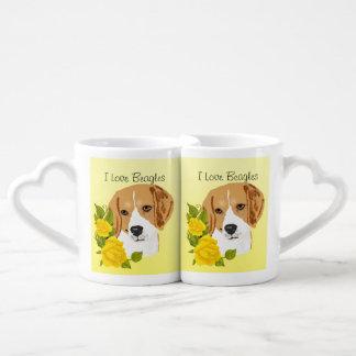 Beagles and Yellow Roses Lovers Mug